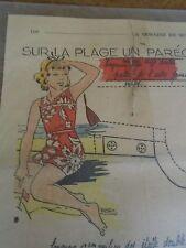 """ANCIEN PATRON POUR LA POUPEE """" BLEUETTE """" SUR LA PLAGE UN PAREO AOUT 1939"""