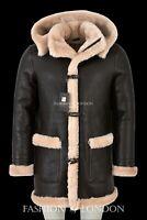 Mens Sheepskin Duffle Coat Fur Hood Natural Shearling Fur Long Hooded Coat F-42