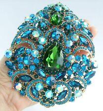 "Teardrop Brooch Pin Pendant 04045C5 4.92"" Turquoise Green Rhinestone Crystal"