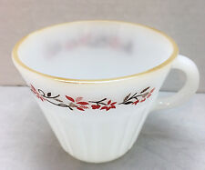 """Termocrisa Red Floral Coffee Cup Dynaware Milk Glass Vintage Mexico 3"""" Tall"""