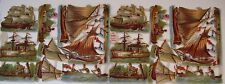 Vintage Die Cuts of Ships, Canoes & Boats w/ Gorgeous Colors (N)*