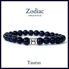 Zodiac Holistic Healing Bracelet, Sparkly Blue Goldstone, Boho, Taurus
