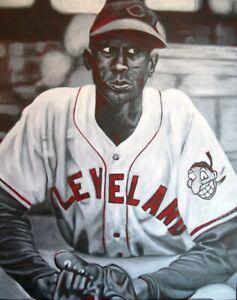 TURN THE PAIGE Satchel Cleveland Indians baseball art original 24x30 painting