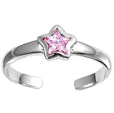 Silver Tiny Star Toe Ring Sterling Silver 925 Best Deal Jewelry Gift Pink CZ