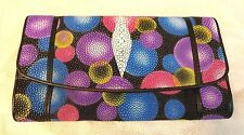Genuine Stingray Wallets Skin Leather Long Trifold Multi Color Women's Clutch-1