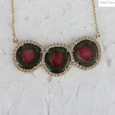 Three Watermelon Tourmaline Pendant Collar Fine Necklace Diamond 14k Yellow Gold