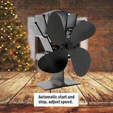 4 Blades Fireplace Fan Heat Powered Wood Burner Stove Fan Low Noise Thermal Fan