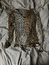 D&G Dolce And Gabbana Intimo Leopard Print Mesh Long Sleeved Top