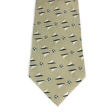 Jhane Barnes 100% Original Fabric Silk Necktie Tie Abstract Beige Made in Japan