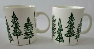 Starbucks 2015 Christmas Evergreen Pine Tree 12 oz Ceramic 2 Coffee Mugs