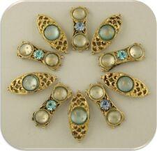 2 Hole Beads Blue Gold Splatter Gems with Aqua Swarovski Crystal Elements QTY 10