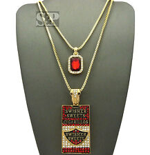 Hip Hop Red Ruby & Iced Cigarette Case Pendant Box Chain 2 Necklace Set SPRC1548