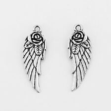 20 Tibetan Silver Feather Angel Wing & Rose Flower Double-Sided Charms Pendants
