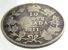 1911 Canada 10 Cents Silver Dime Circulated George V Ten Cent Coin R461