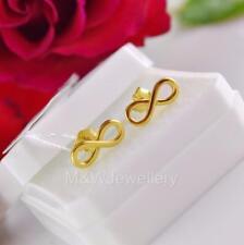 Chapado en oro sólido de plata esterlina 925 con Pasador Aretes Infinity