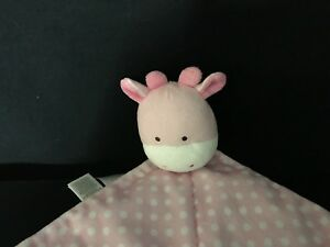 Carters Child Of Mine Giraffe Plush Security Blanket Lovey Pink Polka Dot Rattle
