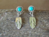 Small Native American Indian Jewelry Stamped Turquosie Sterling Silver Feather E