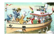 Postcard Cats Alfred Mainzer 4911 Cats on a Boat