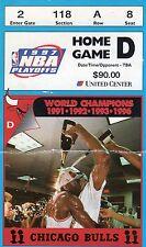 1997 MICHAEL JORDAN WORLD CHAMPION CHICAGO BULLS PLAYOFF TICKET STUB