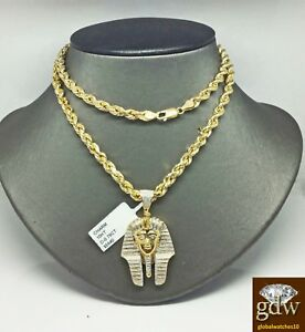 """Real 10k Yellow Gold & Diamond Pharaoh Charm Pendant & 28"""" Rope Chain Necklace N"""