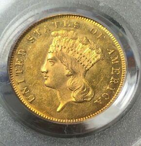 1855 $3 3 Dollar Gold Indian Princess Coin - PCGS MS63