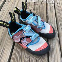 Women's La Sportiva Oxygym Bouldering Climbing Shoes Blue Coral Size 4