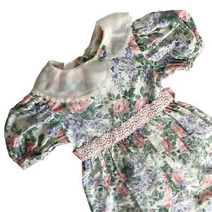 Vintage 80s Girl's Dress Size 6 Cottagecore Floral Pastels Prairie Lace Trim
