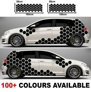 Car Camouflage kit solid hexagon honeycomb side stickers decals
