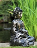 Garden Ornament Solar Buddha ZEN calm Brass Effect Outdoor Indoor Statue