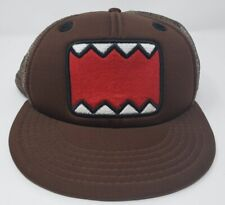 DOMO Snapback Brown Mesh Flat Bill Skateboard Cap Character Hat Clean NWT