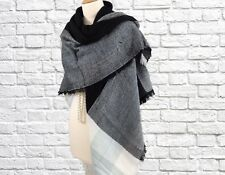 Womens Winter Square Blanket Scarf Shawl Wrap Baby Blue Black White Checked