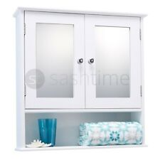 WALL MOUNTED DOUBLE MIRROR DOOR BATHROOM CABINET WHITE WOODEN STORAGE SHELF UNIT