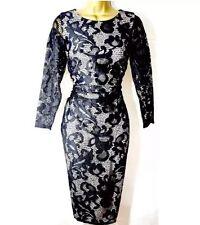 BNWT💕Coast💕Size 8 CORALLA BLACK Mono FLORAL LACE PENCIL DRESS (36EU, 4US) New