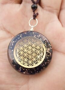 REIKI ENERGY CHARGED BLACK TOURMALINE WITH FLOWER OF LIFE ORGONE CRYSTAL PENDANT