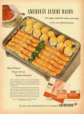 1947 vintage Ad, ARMOUR Star Bacon, sugar cured, tender smoked -022114