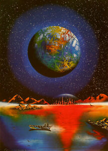 space art, spray paint art painting, print 35X45 cm/ Planet Earth (in future)