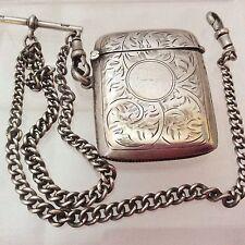 Solid silver Hallmarked Vesta Case & Hallmarked Silver Chain 1914 Greenberg