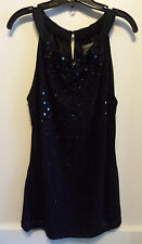 Ann Taylor Sleeveless Black Tulle Sequins Beads Blouse Top, Evening, S, NWT
