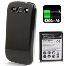 Batteria+Cover 4300Mah SAMSUNG GALAXY S3 NEO i9301 POTENZIATA MAGGIORATA Nero
