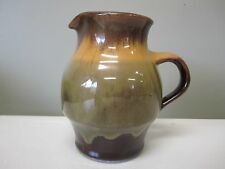 CANADIANA POTTERY SMALL HANDLED JUG 4 1/2 IN HIGH GREEN YELLOW BROWN GLAZE
