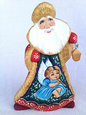 Russian SANTA WITH ANGEL Wooden Hand Carved Hand Painted SIGNED