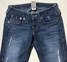EUC RRP $399 Womens Stunning True Religion Brand Destroy 'BILLY' Indigo Jeans 25