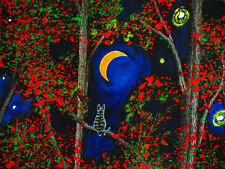 Grey Gray Tabby Tiger CAT Outsider folk Art PRINT Todd Young painting Night Song
