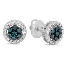0.45 CT 10K White Gold Blue & White Diamond Ladies Cluster Flower Stud Earrings
