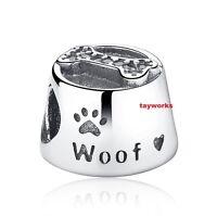 925 Sterling Silver NEW Dog Bowl Woof Bone Bead Fit European Charm Bracelet