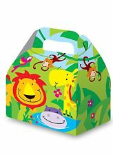 Jungle Zoo Animals 3 Party Boxes Bright Green Monkey Lion Hippo Birthday Loot