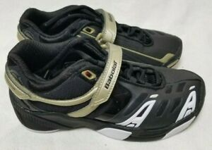 *NEW* Babolat Youth Michelin Kompressor Black Gold Tennis Shoes Sneakers Size 3