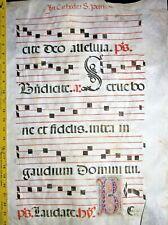 Huge flawed Antiphonary Manuscript Lf.Vellum,unusual T initials ca.1500.#110