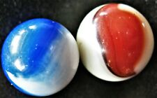 Lot 0f 2 Machine Made Master Marble Patch Marbles Red Comet and Blue Meteor