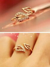 Adjustable Womens Gold Plated Autumn Fall Crystal Leaf Ring Fashion Jewellery